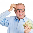 Old man not sure of spending — Stock Photo