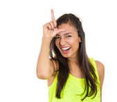 Woman showing loser sign — Stock Photo