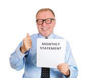 Old man happy with wise monthly expenditure — Stock Photo