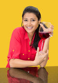 Beautiful girl with a wine glass — Stock Photo