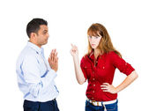 Displeased woman, careless man — Stock Photo