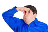 Man pinching his nose — Stock Photo