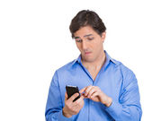 Man engrossed with his phone — Stock Photo