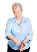 Old woman guilty about something — Stock Photo