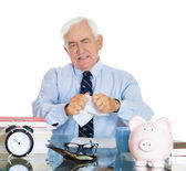 Old frustrated accountant — Stock Photo