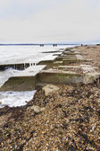 Lepe Beach - launch site for WWII Mulberry Harbours. — Stock Photo