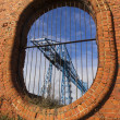 Постер, плакат: Large blue girders Tees Transporter Bridge Middlesbrough Engl