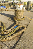 Mooring bollard with rope, West Bay — Stock Photo