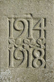 1914 1918 dates of First World War, carved in stone. — Stock Photo