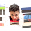 Peeping Through the Stack of Books — Stock Photo