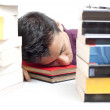 Student Sleeping in Front of Books — Stok fotoğraf