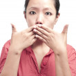 Portrait of Woman Covering her Mouth — Stock Photo