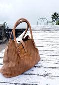 Ladies Big Handbag on the Table — Stock Photo