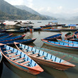 Boats parked on Fewa Lake — Stock Photo