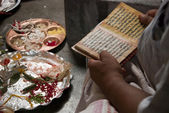 Reading the hindu scripts — Stock Photo