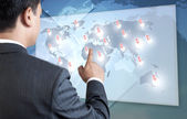 Young Business Person Pointing on the Map.  — Stockfoto