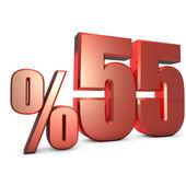 Yüzde 55 Metalik Kırmızı Yüzdelik Sayılar — Stock Photo