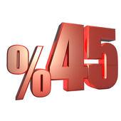 Yüzde 45 Metalik Kırmızı Yüzdelik Sayılar — Stock Photo
