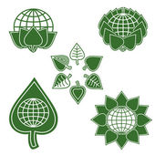 Set Of Environmentally Friendly Symbols From The Globe And Green Leaves — Stock Vector
