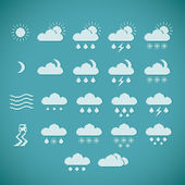 Pixel Weather Icons — Stock Vector