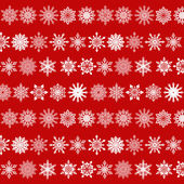 Various Snowflakes Pattern on Red Background — Stock Vector