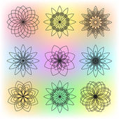 Set of Nine Contour Flowers on Colorful Background — Stock Vector