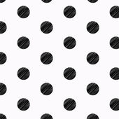 Black Polka Dots Pencil Drawn Pattern — Stok Vektör