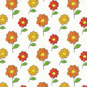 Childish cartoon flowers pattern — Stock Vector