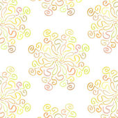 Colorful circular floral ornament on white background — Vecteur