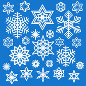 Set of white snowflakes icons — Stock Vector