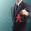 Business man drawing leadership concept, Think different — Stock Photo