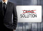 Business man cross crisis and find solution, Concept of Success — Stock Photo