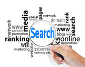 Magnifying glass with search SEO — Stock Photo