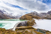 Dam Wall and Alpine Reservoirs Kaprun in the fog — Stock Photo