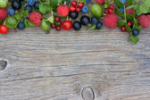 Cowberry, bilberry, gooseberry, blueberry, currant, cherry, rasp — Stock Photo
