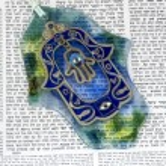 Постер, плакат: Hamsa kabala good luck charm on Talmud
