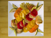 Fresh fruit salad top view — Stock Photo
