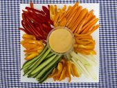 Platter of assorted fresh vegetables with dip — Stock Photo