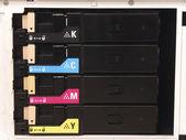 Cmyk-inktcartridges voor laser copier machine — Stockfoto
