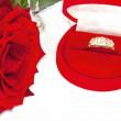 Deep red rose with diamond ring in box — Stock Photo #32293743