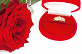 Deep red rose with diamond ring in box — Stock Photo