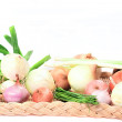 Stock Photo: Different Types of Onions in Basket