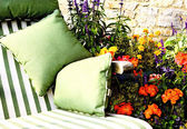 Garden Sun Bed Outside Among the Flowers — Stock Photo