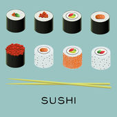 Vector illustration of sushi set — Stock Vector