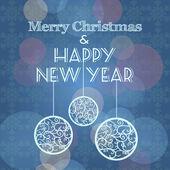 Noel ve yeni yıl tebrik kartı topları ile vektör — Stok Vektör
