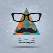 Vector abstract hipster background with triangle, mustaches and — Stock Vector
