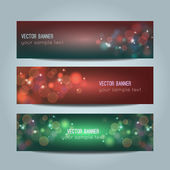 Vector set of abstract colorful bokeh banners — Stock Vector