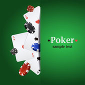 Vector poker background with playing cards, chips and dices — Stock Vector