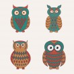 Vector set of decorative cute owls — Stock Vector #35614189