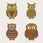 Vector set of decorative cute owls — Stock Vector #35614199